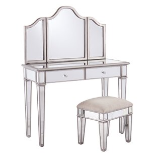makeup vanity with chair. Lyra 2 Piece Mirrored Vanity  Stool Set Bedroom Makeup Vanities Joss Main