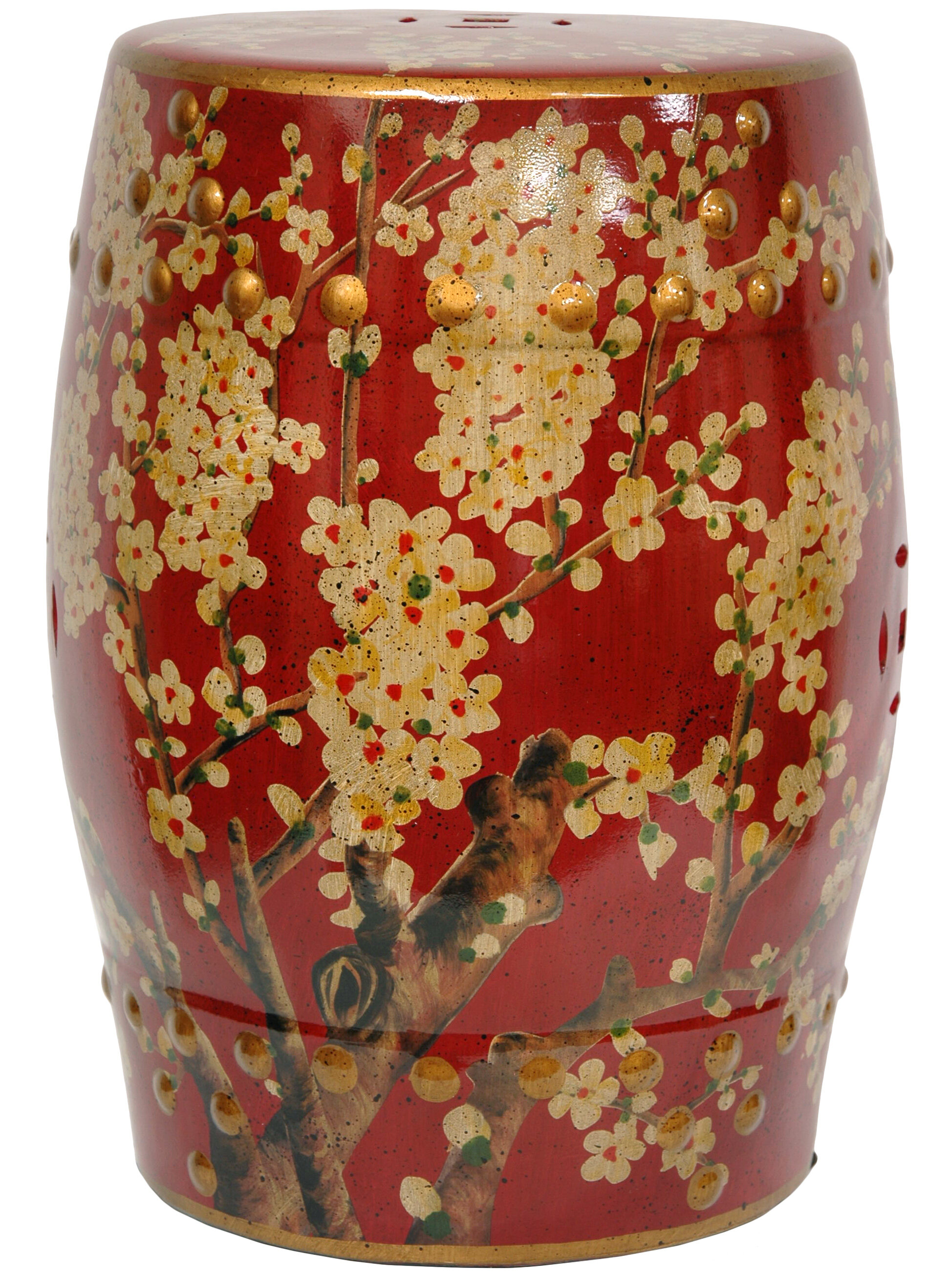 Oriental Furniture Sakura Blossom Oriental Garden Stool & Reviews ...