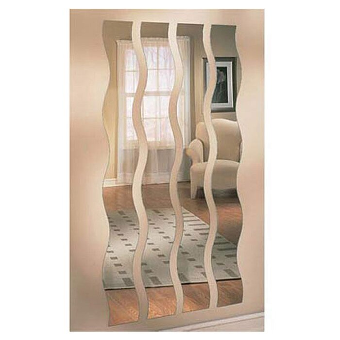 Greatest Zipcode Design Chandrine Wave Strip Rectangle Wall Mirror  VO32