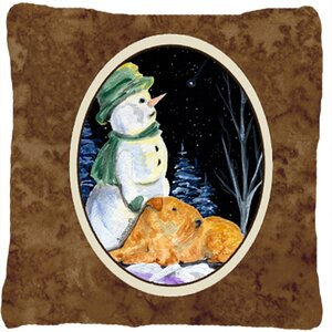 Snowman with Welsh Terrier Indoor/Outdoor Throw Pillow