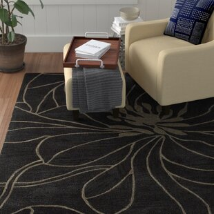 Price comparison Bradshaw Black Charcoal/Taupe Floral Chic Area Rug By Winston Porter
