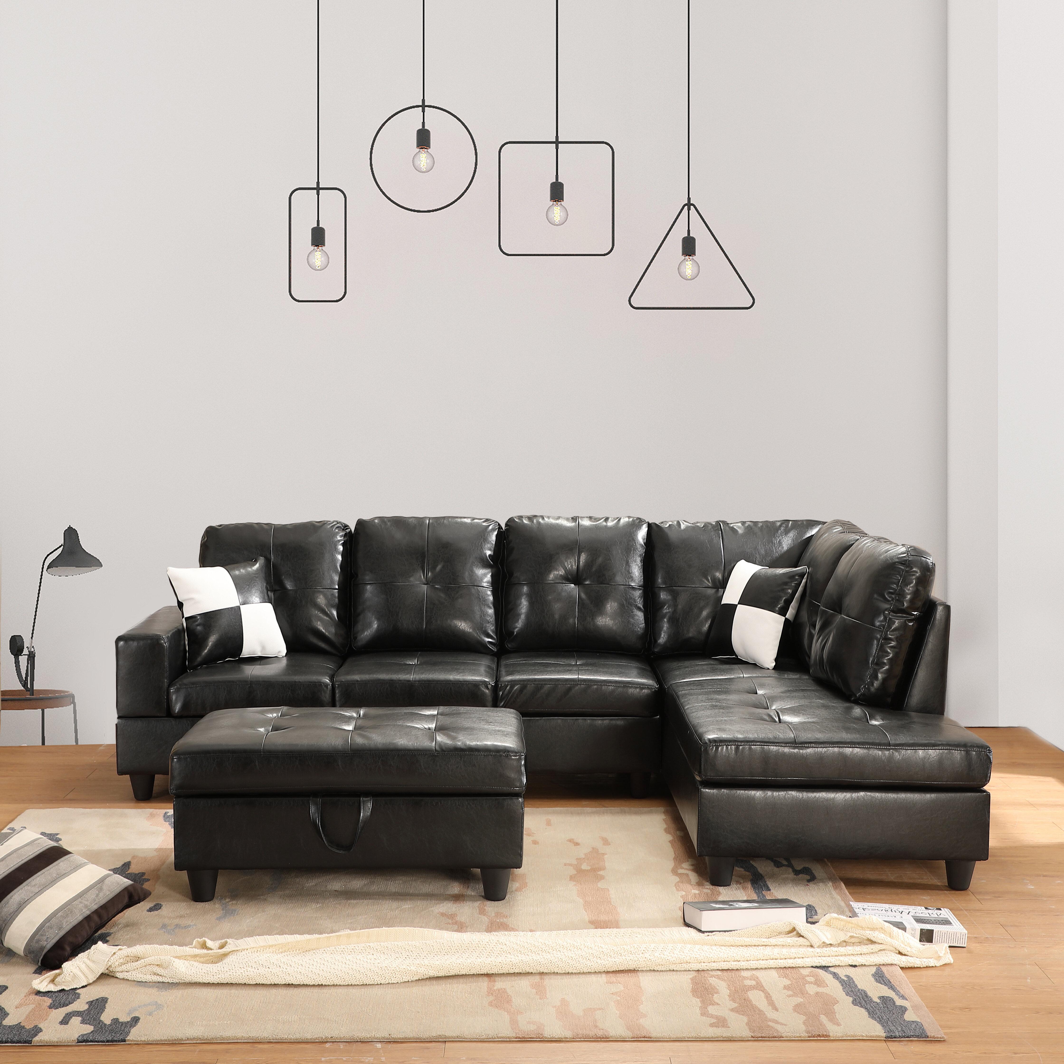 Latitude Run Caitlin Anne 103 5 Faux Leather Sofa Chaise With Ottoman Wayfair