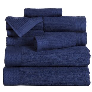 Ribbed 10 Piece 100% Cotton Towel Set