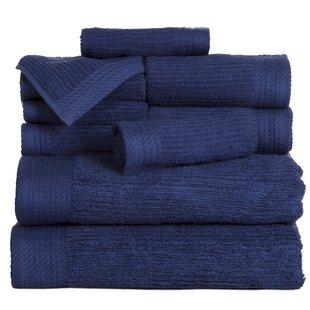 Ribbed 10 Piece 100% Cotton Towel Set