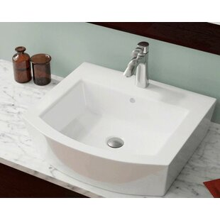 Find Vitreous China Rectangular Vessel Bathroom Sink with Overflow ByPolaris Sinks