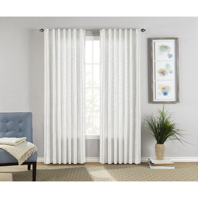 Sure Fit Adalina Geometric Room Darkening Rod Pocket Curtain Panels Reviews Wayfair