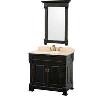Best Andover 36 Single Antique Black Bathroom Vanity Set with Mirror ByWyndham Collection