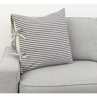 Liriano Ticking Stripe Tie Cotton Throw Pillow