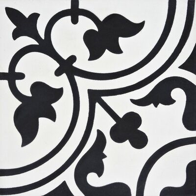 "Moroccan Mosaic Casa 8'"" x 8"" Cement Tile Color: Black/Gray"