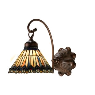 Best Price Tiffany Jeweled Peacock 1-Light Armed Sconce By Meyda Tiffany