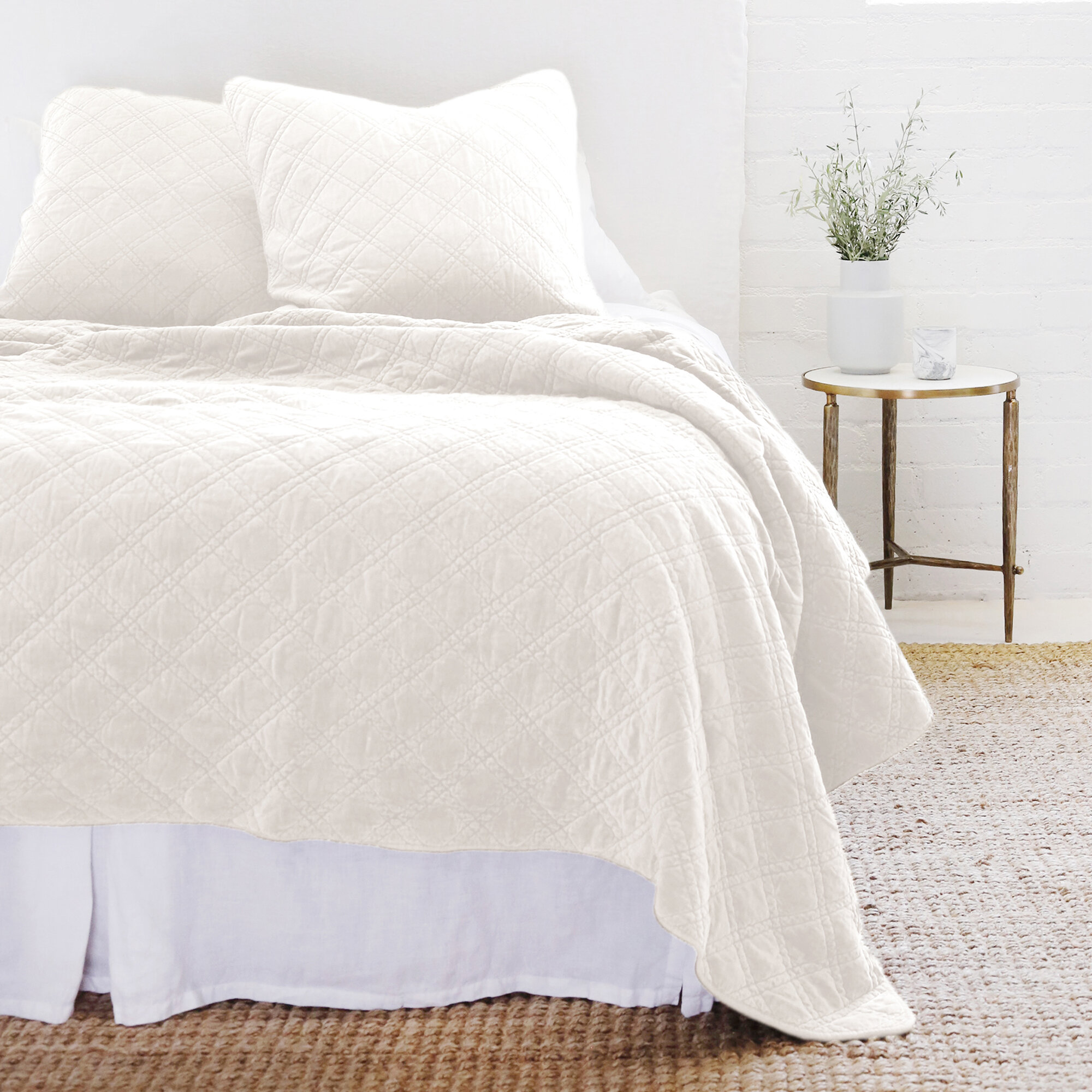 Pom Pom At Home Brussels White Cotton Blend Coverlet Wayfair