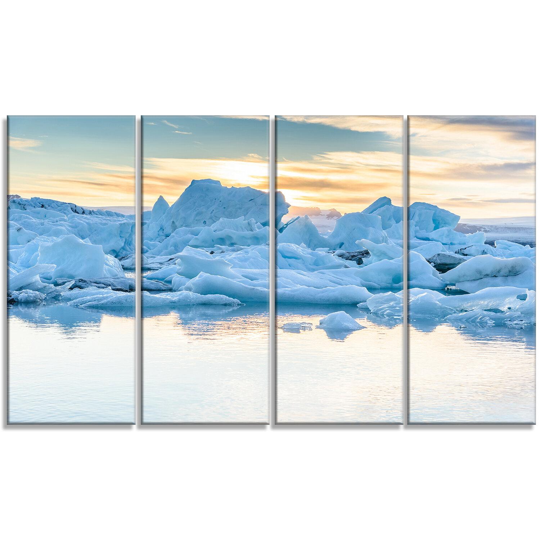 Designart Icebergs In Glacier Lagoon 4 Piece Photographic Print On Wrapped Canvas Set Wayfair