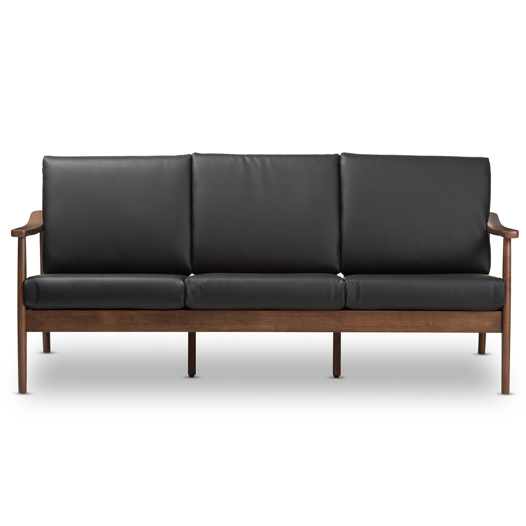 Millwood Pines Leaman Mid-Century Modern Faux Sofa   Wayfair