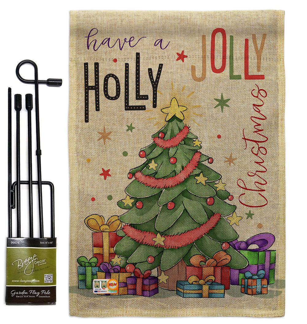 Breeze Decor A Holly Jolly Christmas Winter Impressions 2 Sided Burlap 19 X 13 In Flag Set Wayfair