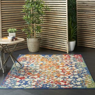 Mariners Contemporary Ivory/Blue/Orange Indoor/Outdoor Area Rug