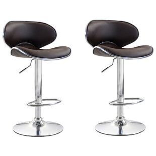 Shults Adjustable Height Swivel Bar Stool (Set of 2) by Brayden Studio