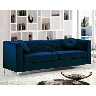 Navy Blue Sofa With White Trim | Wayfair