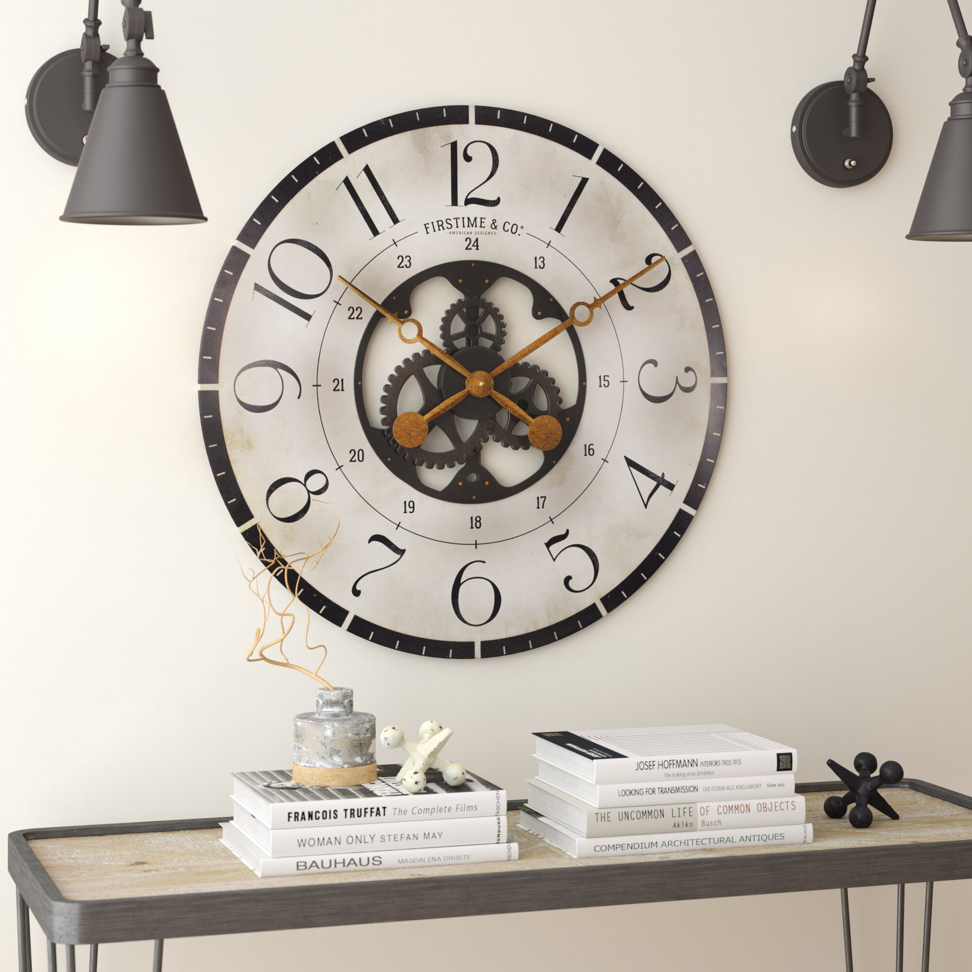 """NEW Quartz Moving Gear 20/"""" Large Oversized Industrial Wall Round Wall Clock"""