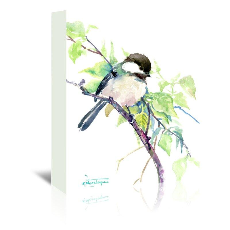 East Urban Home Chickadeepainting Print On Wrapped Canvas Reviews Wayfair