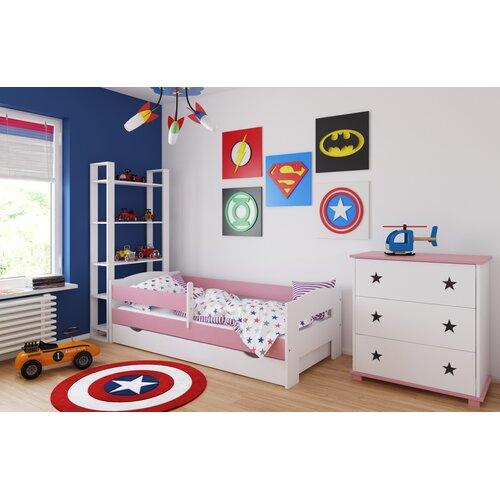 Funktionsbett Sirius mit Matratze und Schublade | Schlafzimmer > Betten > Funktionsbetten | Rosa | Holz - Teilmassiv - Mdf | Harriet Bee