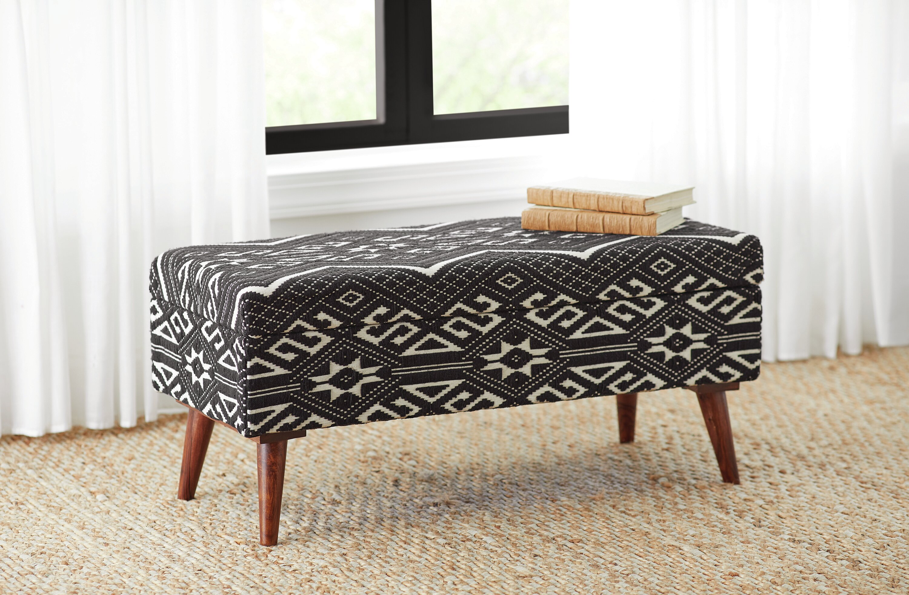 Bungalow Rose Upholstered Bench Black And White Reviews
