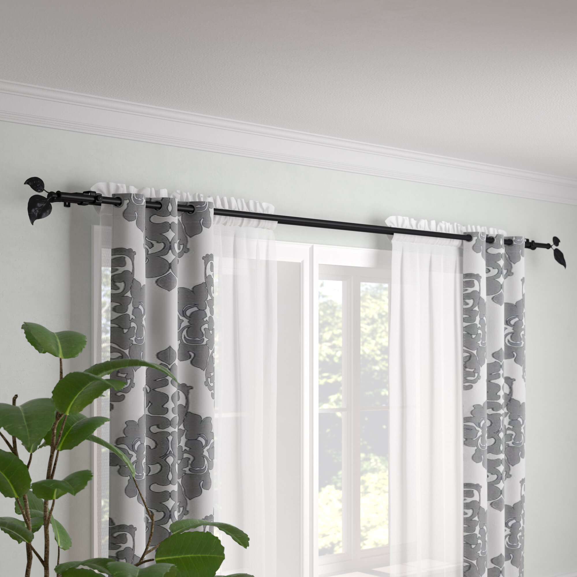 Sycamore Double Curtain Rod And Hardware Set