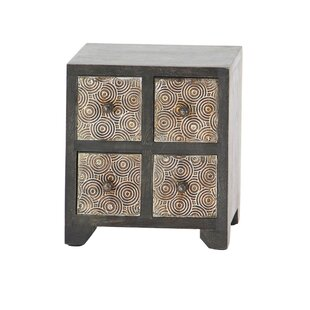 Bloomsbury Market Cima Rustic Square 4-Drawer Free Standing Jewelry Armoire