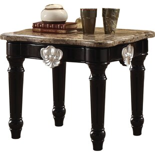 Sumpter Marble Top Contrast Carved Motif Turned Wood Legs End Table by Astoria Grand
