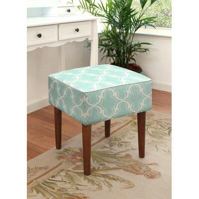 123 Creations Trellis Linen Upholstered Modern Vanity Stool Color Aqua