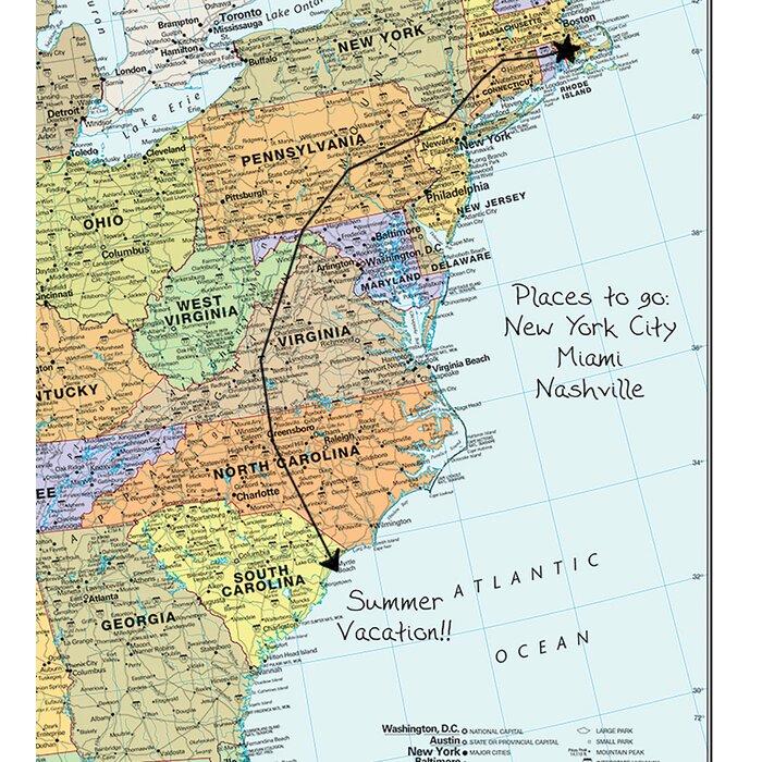 USA Dry-Erase Map 36' x 24