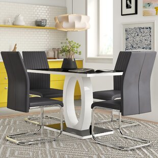 Reculver High Gloss Glass Dining Set With 4 Chairs By Wade Logan