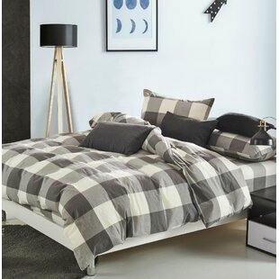 Wabbaseka Gingham Washed Cotton Duvet Cover Set