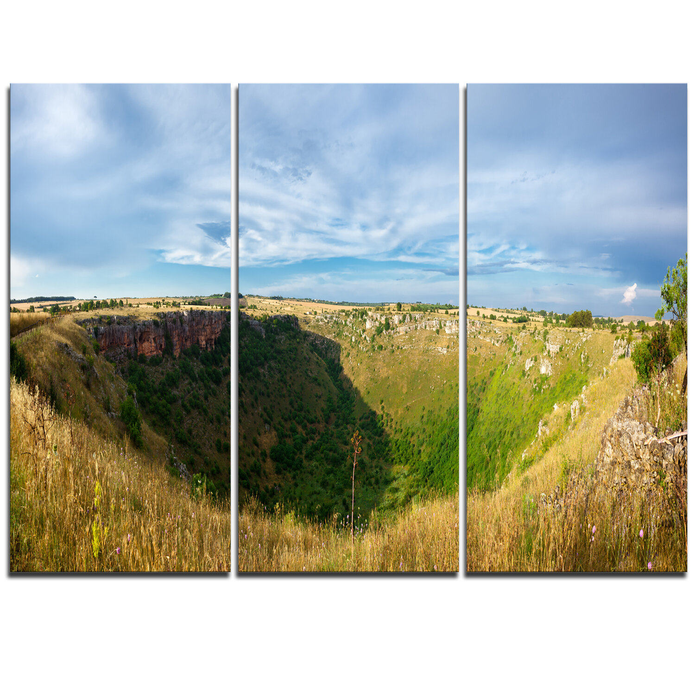 Designart Pulo Di Altamura Panorama 3 Piece Photographic Print On Wrapped Canvas Set Wayfair