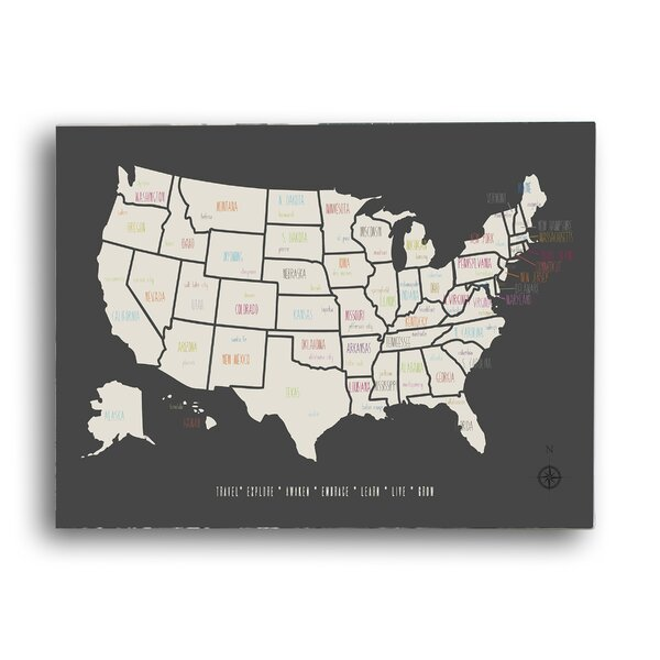 KindredSolCollective Pushpin USA Travel Map Graphic Art Print on ...