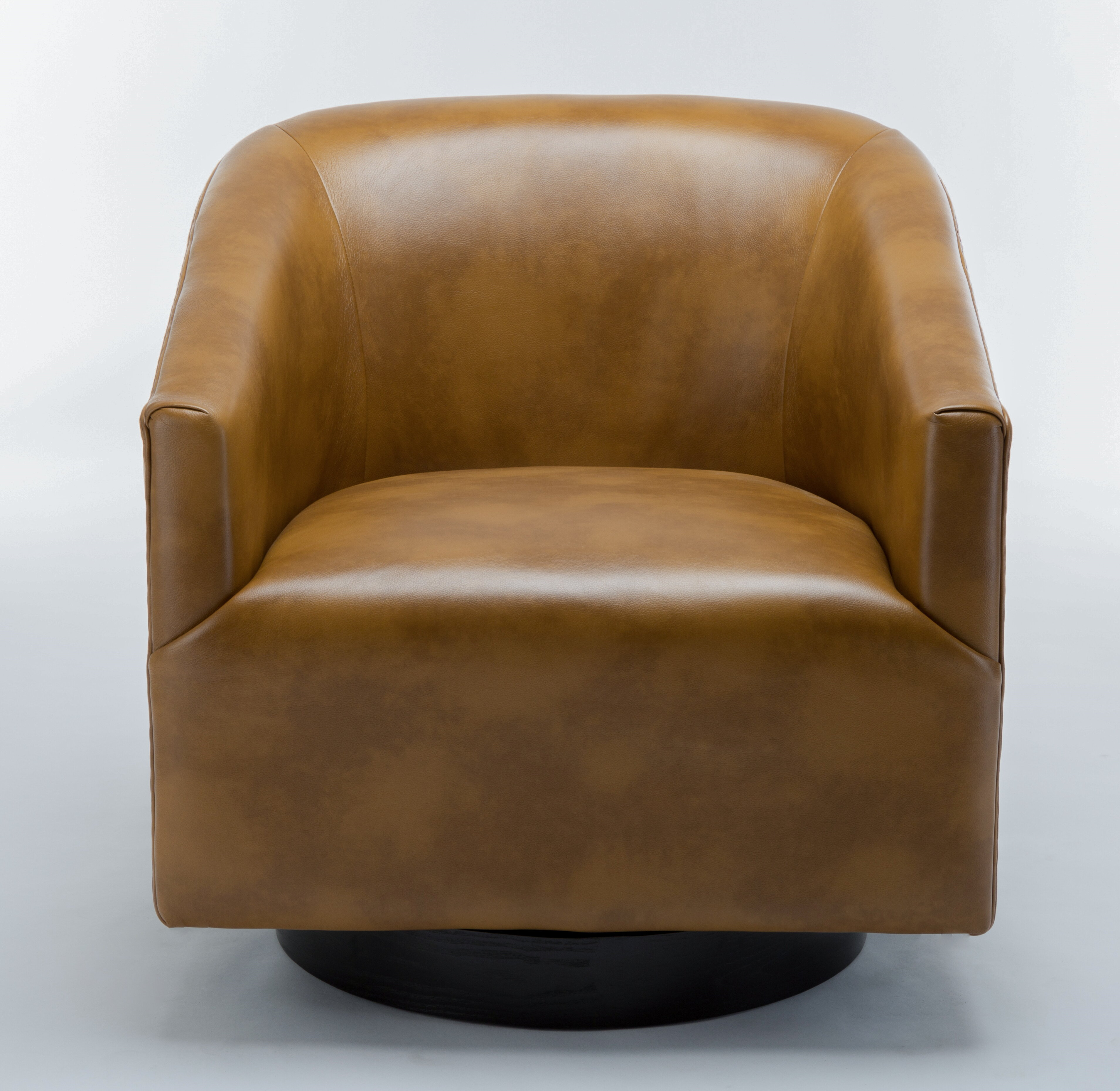 Picture of: Mcintyre 30 W Faux Leather Swivel Barrel Chair Reviews