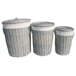 3 Piece Round Wicker Laundry Set By August Grove