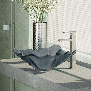 Glass Specialty Vessel Bathroom Sink with Faucet