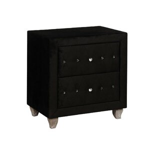 Find Stoughton Upholstered Solid Wood 2 Drawer Nightstand by Everly Quinn