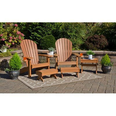Kelm Plastic/Resin Adirondack Chair Set with Ottoman Bayou Breeze Color: Cedar
