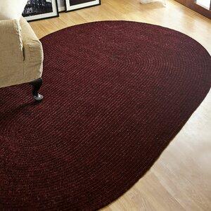 Chenille Reversible Dark Red Indoor/Outdoor Area Rug