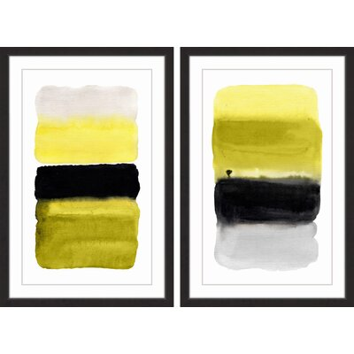 17 Stories 2 Piece Black and Yellow Diptych Framed Watercool Painting Print Set Size 45 H x 30 W x 15 L