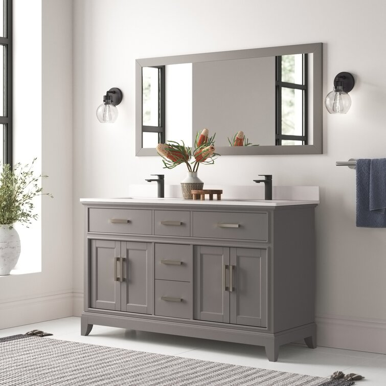 Joss Main Blevens 60 Double Bathroom Vanity Set With Mirror Reviews Wayfair