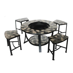 Mosaic Tile Convertible 5 Piece Steel Charcoal Fire Pit Table Set