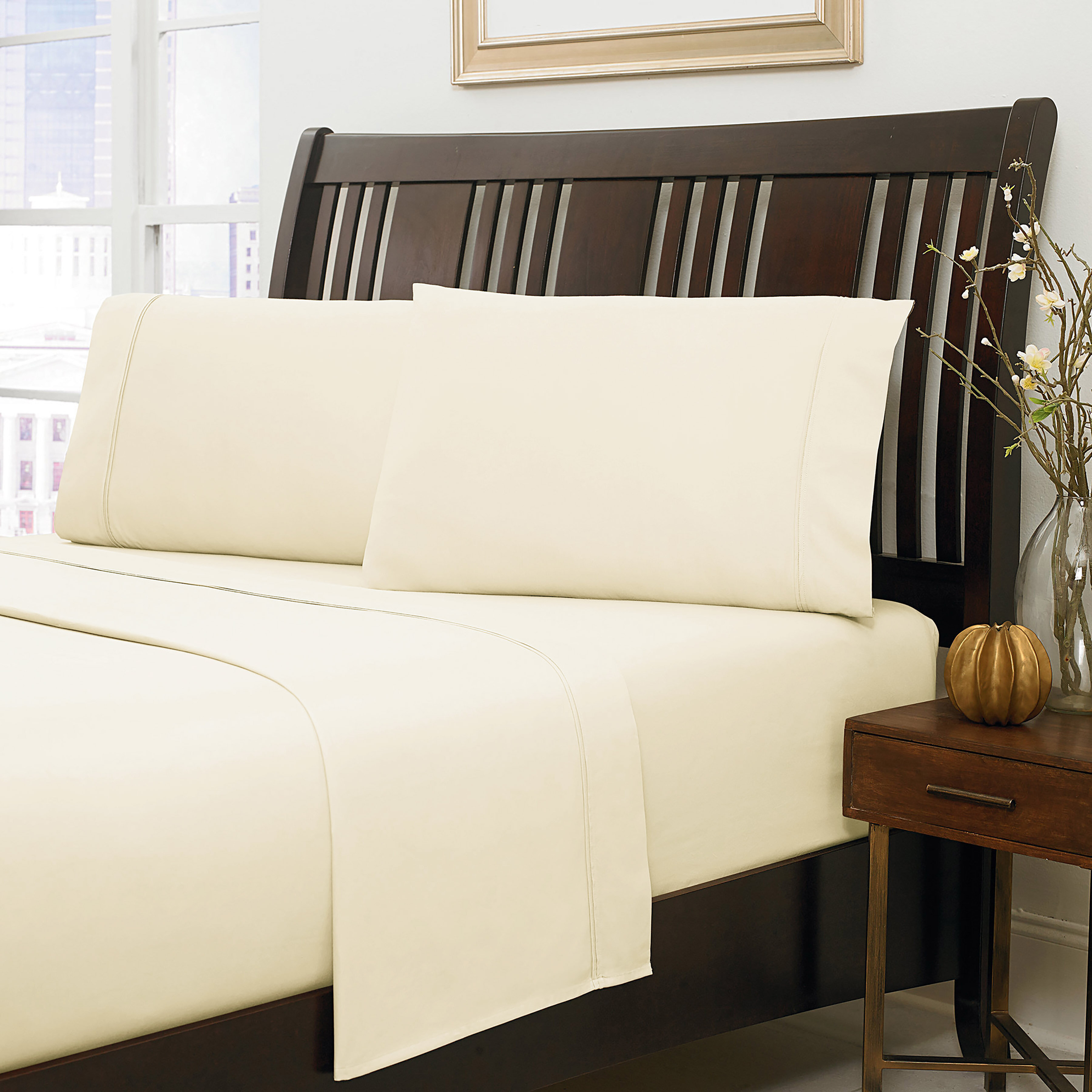 """1000 TC Egyptian Cotton 21/"""" Deep Pocket Ultra Bedding Items All Sizes Solid"""