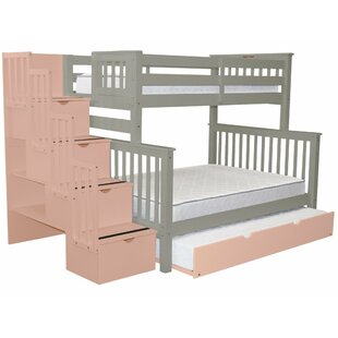 Tena Stairway Twin over Full Bunk Bed with Full Trundle