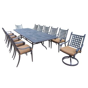 Arness 16 Piece Metal Dining Set and Bistro Set