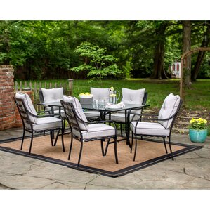 Sweetman 7 Piece Outdoor Dining Set with CushionMetal Patio Furniture. Metal Outdoor Patio Furniture. Home Design Ideas