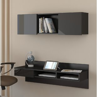 Brylee Wall-Mounted Floating Desk with Hutch