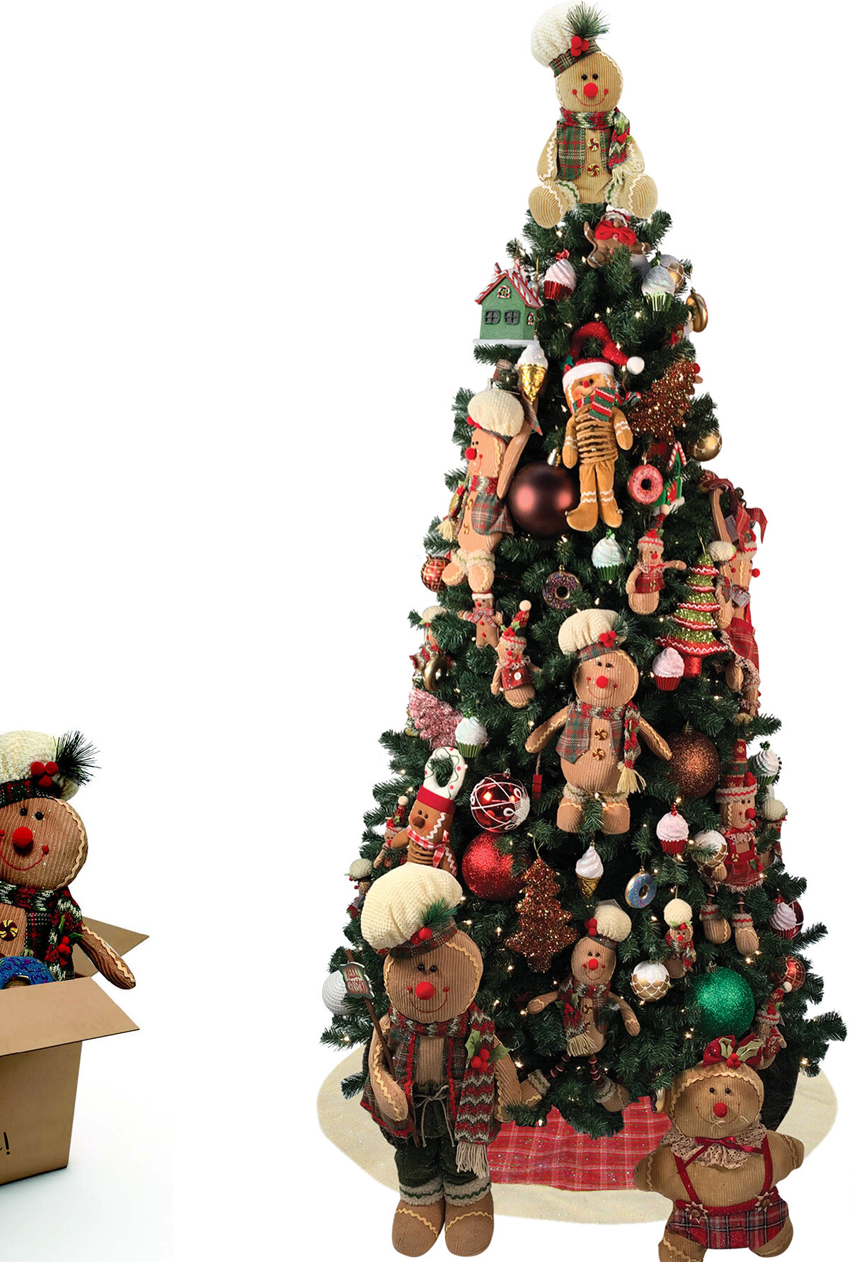 The Holiday Aisle Gingerbread Decoration 7 5 Green Pine Artificial Christmas Tree With 550 Clear And White Lights Wayfair
