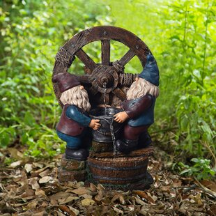 Resin Outdoor Little Gnome Friends Fountain